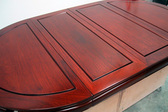 カリン無垢材製エクステンション付テーブル天板