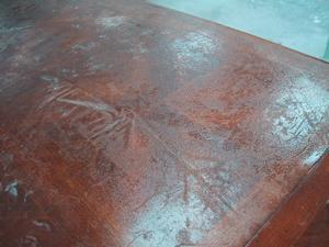 エクステンション付きテーブル天板塗り直し
